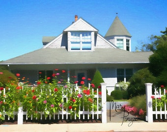 Photography at Watch Hill, Rhode Island, Cottage by the Sea, Red rose bushes, white picket fence, blue skies, victorian house