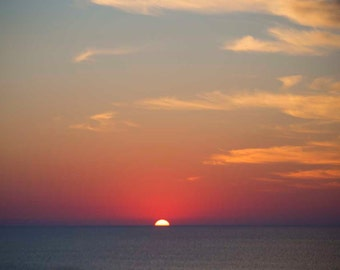 Photo Print or Gallery Wrap - Sunrise over the Ocean, Orange and Blue Sunrise Skies, Dramatic Sunrise
