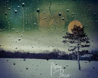 Photo Night, Moonlight, Raindrops, Dusk, Winter Eve