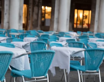 Venice, Italy, CHairs, Turquoise Chairs, Venice, Italy, St Marks Square