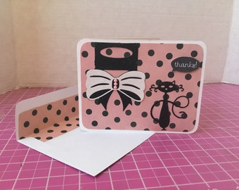 Retro Bow and Cat Thank You Note Card T10
