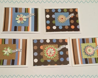 Set of 5 3D Flower Thank You Note Cards T05