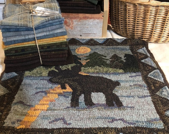 "Wool Pack,Moonshine Moose, 20"" x 20""  WP119 Rug Hooking, Applique, Wool Pack for Northwoods Rug, Northwoods Moose Lake and Sky, Isle Royale"