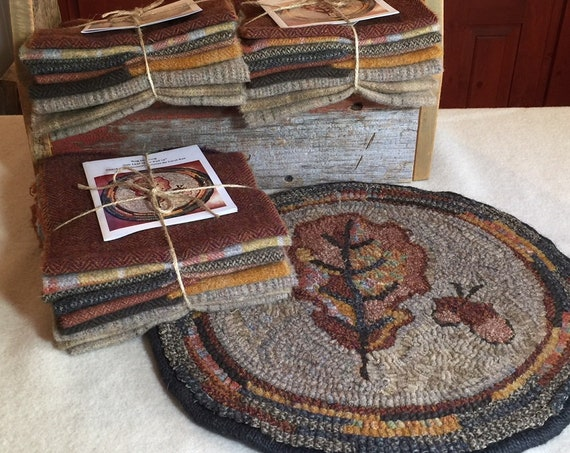 "Primitive Rug Hooking Kit for ""Oak Leaf"" Chair Pad  14"" Round/Fall Hooked Rug/Primitive Chair Pad/ Hooked Table Mat/Pillow  K141"