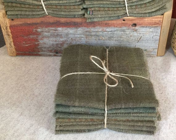 Dried Sage Green Wool Bundle, Hand-Dyed Wool Fabric for Rug Hooking, Applique, Penny Rugs, Quilting, 8-One Sixteenth Yard Pieces W326