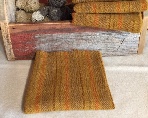 Rumplestiltskin, a Mustard Gold Stripe,Mill Dyed Wool Fabric for Rug Hooking,Applique,Penny Rugs,Fiber Arts,1/4 yd Orange, Brown, Green W355