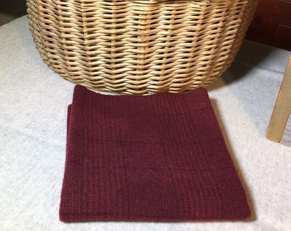 Dark Cranberry Plaid, Hand  Dyed Wool Fabric for Rug Hooking, Applique, Penny Rugs, Fiber Arts, Fat Quarter Yard  W311