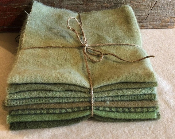 A Field of Green, Wool Bundle, Hand-Dyed Wool Fabric for Rug Hooking, Applique, Penny Rugs, Quilting, 8 - One Sixteenth Yard Pieces W365