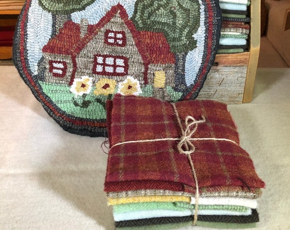 "Primitive Rug Hooking Kit for ""Summer Cottage"" Chair Pad  14"" Round  K144"