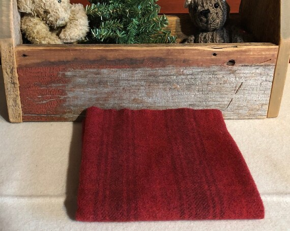 Christmas Red Stripe Hand  Dyed Wool Fabric for Rug Hooking, Applique, Penny Rugs, Fiber Arts, Fat Quarter Yard  W369