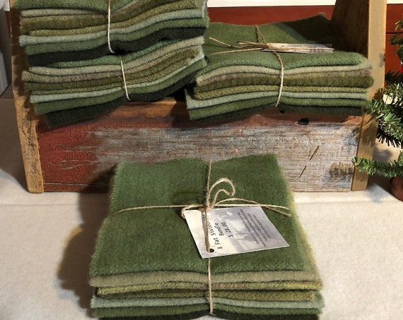 Olive Green Mix Wool Bundle, Hand-Dyed Wool Fabric for Rug Hooking, Applique, Penny Rugs, Quilting, 8-One Sixteenth Yard Pieces W383