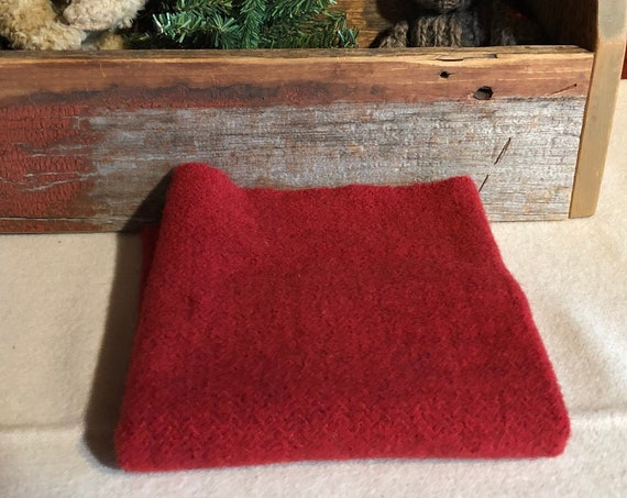 Christmas Red Herringbone Hand  Dyed Wool Fabric for Rug Hooking, Applique, Penny Rugs, Fiber Arts, Fat Quarter Yard  W370