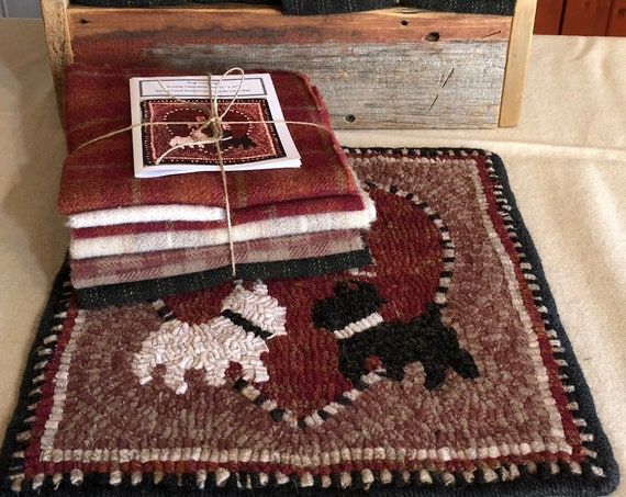 "Primitive Rug Hooking Kit , Scottie Valentine Mat, 12"" x 12"" K143, Valentines, love scotties, table mat, wall hanging"
