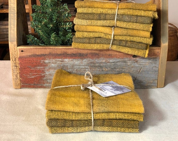 "Gold Wool Bundle, ""Golden Mustard Mix"", Hand dyed Wool Fabric for Rug Hooking, Applique, Penny Rugs, Quilting 4 Fat Eighths W434"