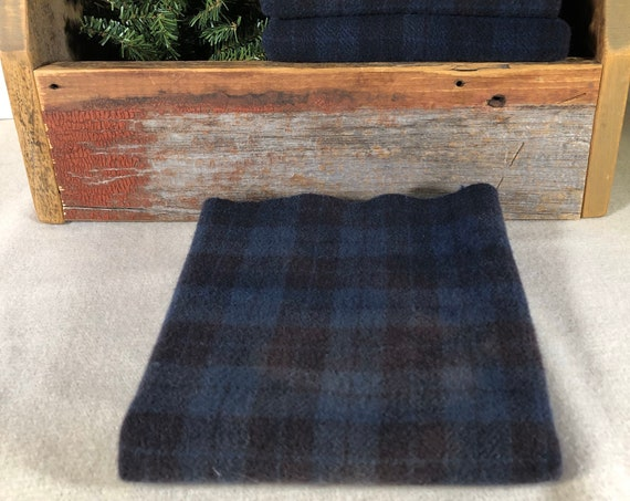 Midnight Sky Plaid, Hand-Dyed Wool Fabric for Rug Hooking,Applique,Penny Rugs,Fiber Arts,Fat Quarter Yard, Navy Blue Plaid  W436