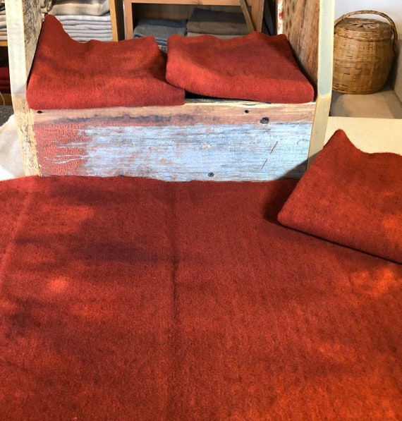Red Cedar Texture,  a Red, Hand  Dyed Wool Fabric for Rug Hooking, Applique, Penny Rugs, Fiber Arts, Fat Quarter Yard  W424