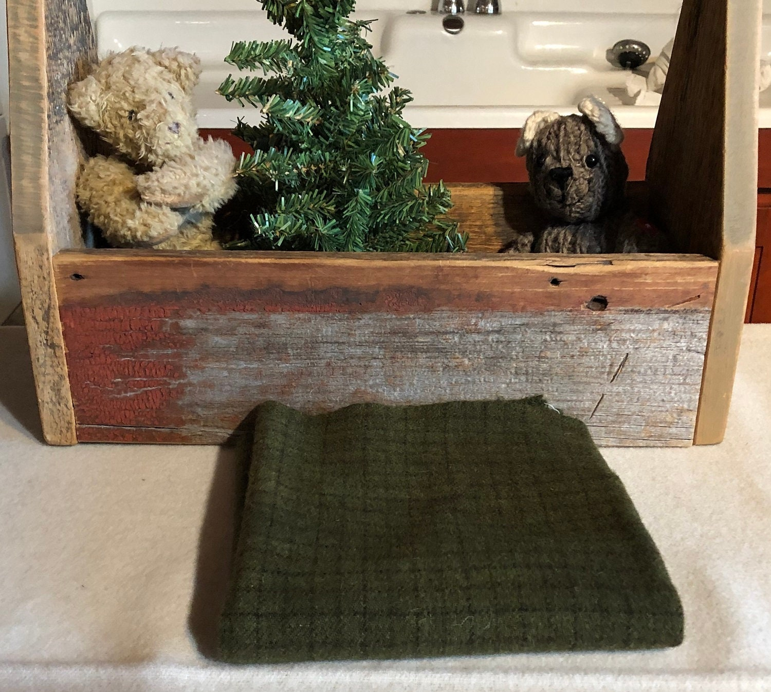 Dark Pine Green Check Hand Dyed Wool Fabric For Rug