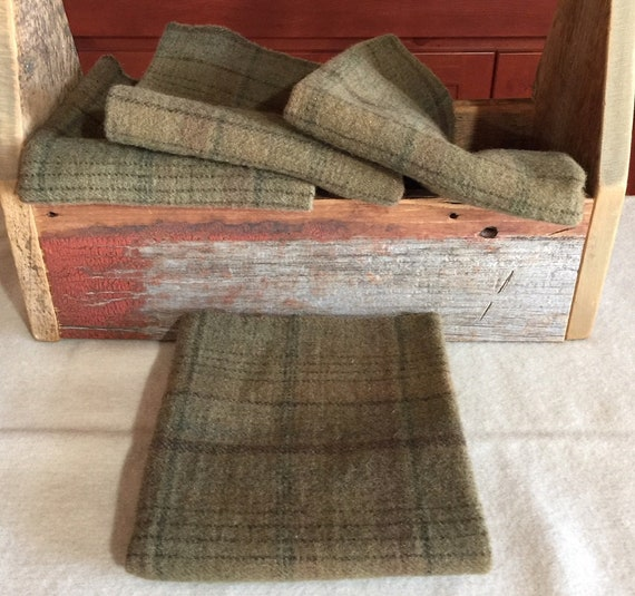 Primitive Green Hand-Dyed Wool Fabric for Rug Hooking, Olive, Dusty Green, Applique, Penny Rugs, Quilts, 1 Fat Quarter Yd , Basil, W344A