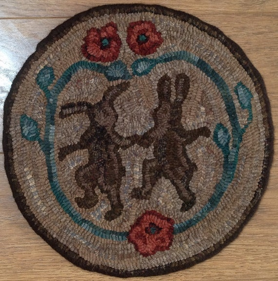 Rug Hooking Pattern for Dancing Rabbits Chair Pad, on Monks Cloth or Primitive Linen, P108