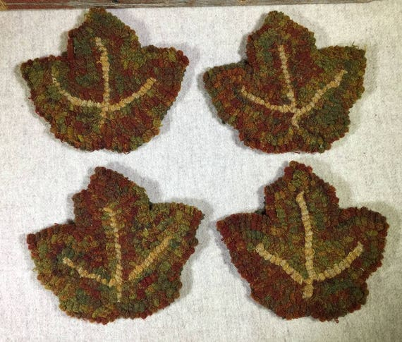 "Rug Hooking Pattern , 4 Maple Leaf Mug Rugs 6"" x 5.5"", P153"