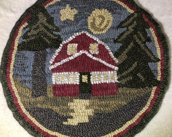 """Rug Hooking Pattern for """"Evening Cottage"""" Chair Pad, on Monks Cloth or Primitive Linen, P177"""