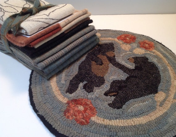 "Primitive Rug Hooking Kit for ""Dancing Bears""  14"" Chair Pad  K110"