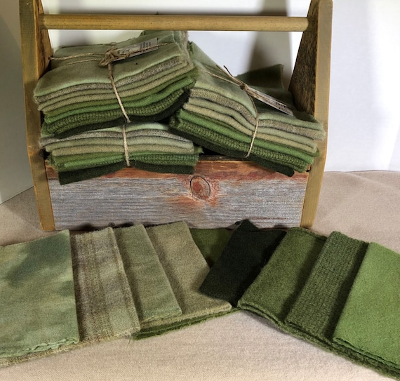 A Field of Green II, Wool Bundle, Hand-Dyed Wool Fabric for Rug Hooking, Applique, Penny Rugs, Quilting, 9 - One Sixteenth Yard Pieces W406
