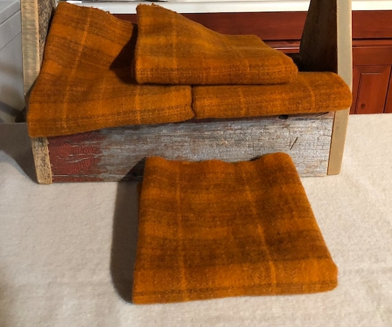 Pumpkin Spice Plaid, Hand  Dyed Wool Fabric for Rug Hooking, Applique, Penny Rugs, Fiber Arts, Fat Quarter Yard  W366