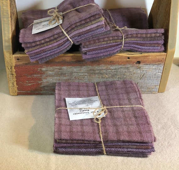 Primitive Lavender, Hand-Dyed Wool Fabric for Rug Hooking, Dusty Purple,  Violet, Applique, Penny Rugs, Quilting, 8 - 1/16 Yard Pieces W395