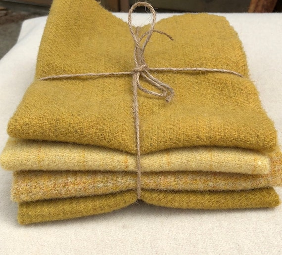 "Yellow Wool Bundle, ""Summer Sunflowers"", Hand dyed and Mill dyed Wool Fabric for Rug Hooking,Applique,Penny Rugs,Quilting 4 Fat Eighths W358"