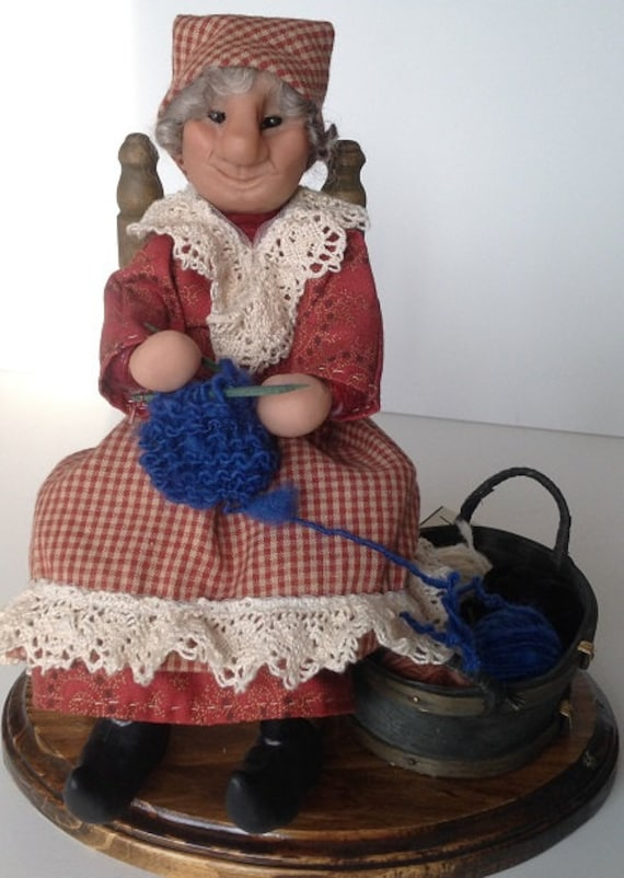 Folk Dolls, Lille Folk, Knitting Woman   Handmade sculpted face, Clothing hand sewn from cotton fabric, D13