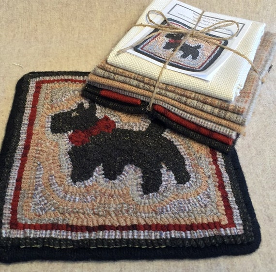 "Primtive Rug Hooking Kit , Scottie Mat 9"" x 9"", K 101"