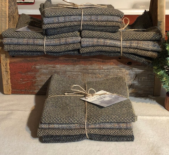 Gray Primitive Background Mix Wool Bundle  100% Wool Fabric for Rug Hooking, Applique, Penny Rugs, Quilting 4- one eighth Yard Pieces W376