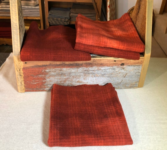 Red Cedar Plaid,  a Red, Hand  Dyed Wool Fabric for Rug Hooking, Applique, Penny Rugs, Fiber Arts, Fat Quarter Yard  W423