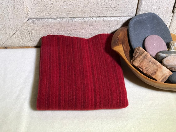 Holiday Red Stripe Hand-Dyed Wool Fabric for Rug Hooking, Applique, Penny Rugs, Fiber Arts, Christmas Red, Valentine Red, Fat 1/4 Yard  W469