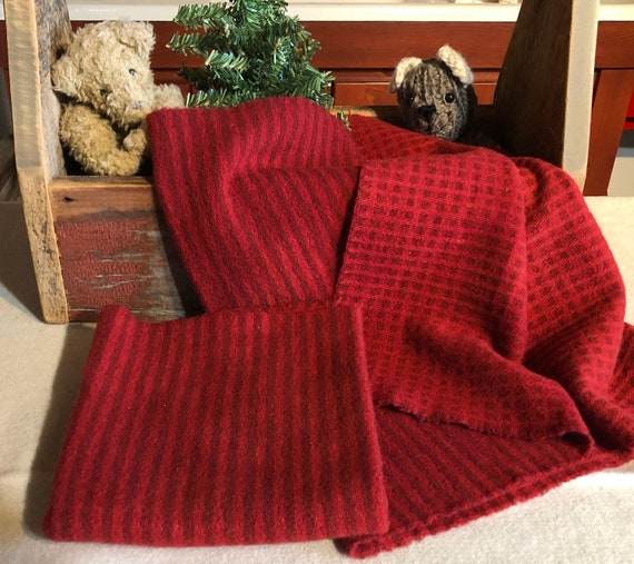 Christmas Red Reversible Stripe/Check Hand  Dyed Wool Fabric for Rug Hooking, Applique, Penny Rugs, Fiber Arts, Fat Quarter Yard  W377