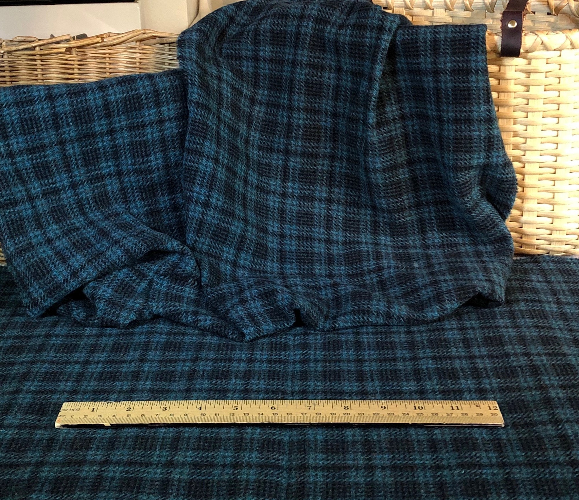 Sea Dragon, A Teal Dark Plaid, Mill Dyed 100% Wool Fabric