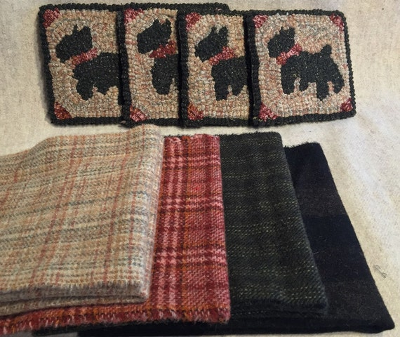 "Primtive Rug Hooking Kit , 4 Scottie Mug Rugs 5"" x 5"", K 105"