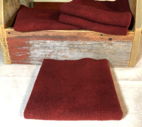 Winter Cherry Red Texture, A Hand  Dyed Wool Fabric for Rug Hooking, Applique, Penny Rugs, Fiber Arts, Fat Quarter Yard  W343