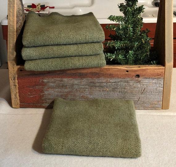 Medium Bronze Green Herringbone Hand-Dyed Wool Fabric for Rug Hooking, Applique, Penny Rugs, Fiber Arts, One Fat Quarter Yard W381