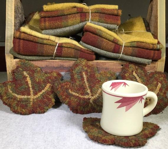 """Rug Hooking Kit,Maple Leaf Mug Rugs  6"""" x 5.5""""  K135"""