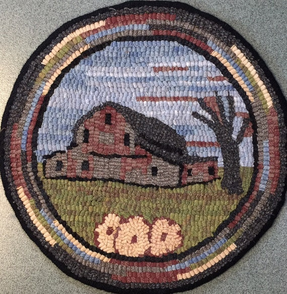 "Rug Hooking Pattern for ""Old Barn #4"" Chair Pad, on Monks Cloth or Primitive Linen, P142"