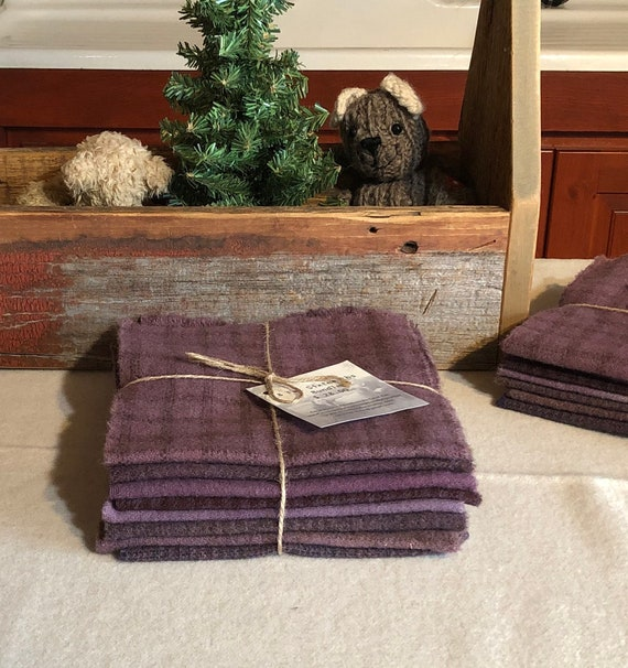 Shades of Purple Wool Bundle, Hand-Dyed Wool Fabric for Rug Hooking, Applique, Penny Rugs, Quilting, eight - 1/16th Yard Pieces W374