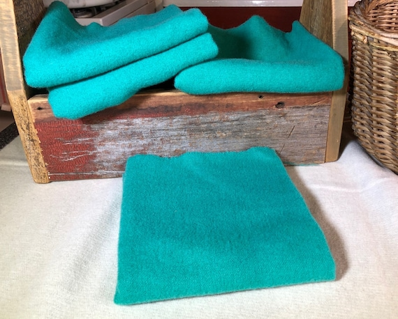 Bright Jade, HandDyed Wool Fabric for Rug Hooking, Applique, Penny Rugs, Fiber Art, Bright Jade, Vivid Turquoise  1 Quarter Yd W398
