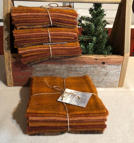 Orange and Rust Wool Bundle, Wool Fabric for Rug Hooking, Applique, Penny Rugs, Quilting - 8 One Sixteenth Yard Pieces of Orange Spice W384