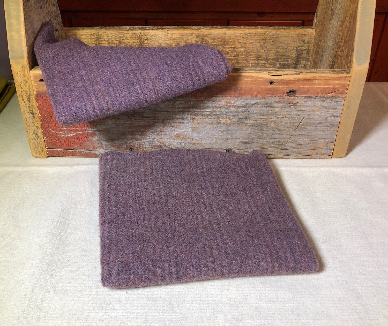 Dusty Purple Stripe Hand Dyed Wool Fabric For Rug Hooking Applique Penny Rugs Fiber Arts