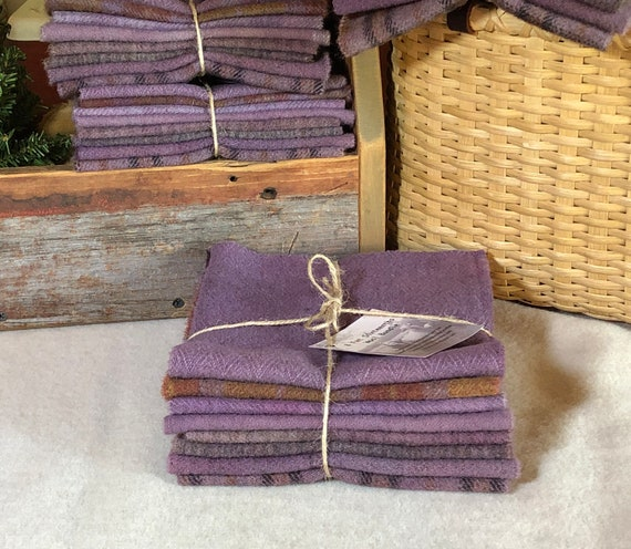 Lavender Mix, Hand-Dyed Wool Fabric for Rug Hooking, Dusty Purple,  Violet, Applique, Penny Rugs, Quilting, 8 - 1/16 Yard Pieces W462