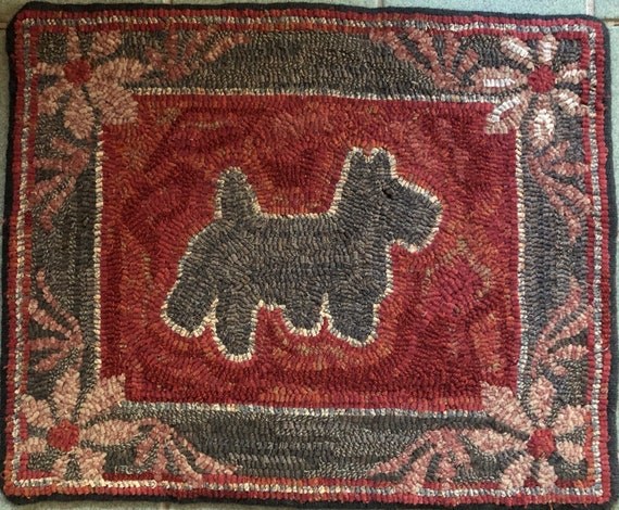 "Rug Hooking Pattern, Scottie and Flowers, 18"" x 22"" P172"