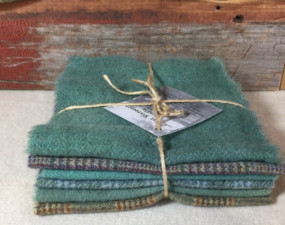 Turquoise Harmony Wool Bundle, Hand-Dyed Wool Fabric for Rug Hooking, Applique, Penny Rugs, Quilting, 6 - One Sixteenth Yard Pieces W333
