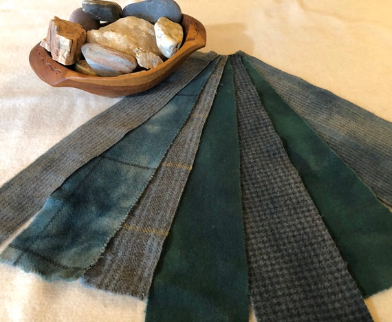 Applique Pieces, Quilting and Rug Hooking Green Wool Strip Bundle, Hand-dyed & Mill-dyed for Rug Hooking, Sewing, Crafts, One of A Kind W454
